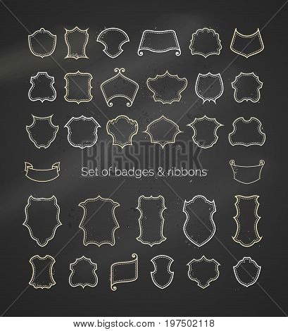 Vector chalk shields and ribbons on blackboard background. Outlined chalk vintage badges borders frames labels designs. There is copy space for your text.