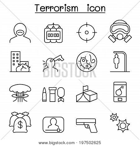Terrorism icon set in thin line style
