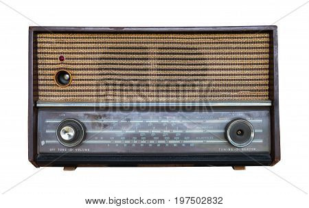Vintage Radio isolate on white with clipping path retro technology