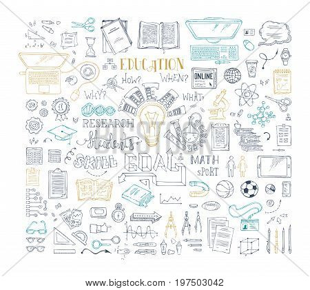 Vector Set Of Outlined Education Elements And Icons.