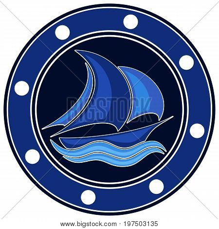 A logo of a sea vessel with blue sails in the sea.