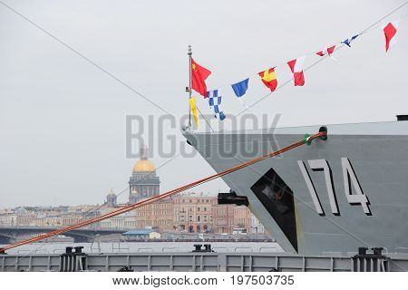 Saint-Petersburg, Russia - Jul 29 2017: The bow of the ship Chinese Navy destroyer
