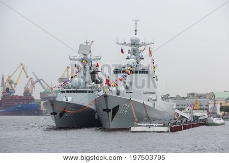 Saint-Petersburg, Russia - Jul 29 2017: Ships Chinese Navy destroyer