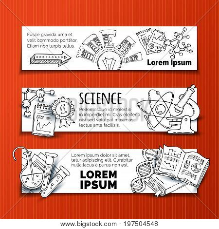 Vector Set Of Doodles Science Horizontal Banners.