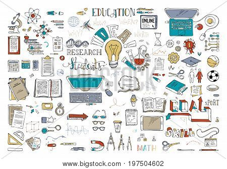 Vector Set Of Education Elements And Icons.