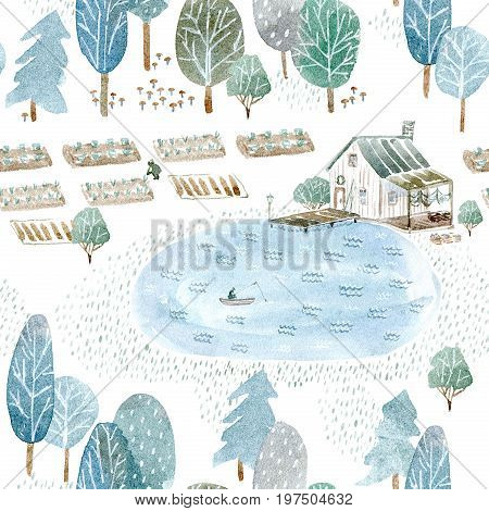 Seamless pattern of a fisherman's house and garden.Landscape of a forest, lake and lake.Watercolor hand drawn illustration.White background.
