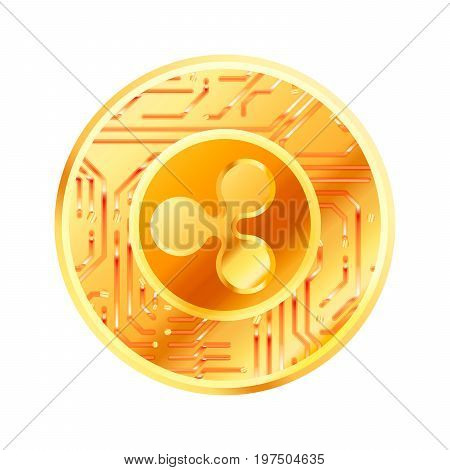 Bright golden coin with microchip pattern and Ripple sign. Cryptocurrency concept isolated on white