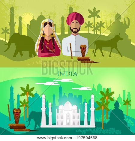 Travel to India banner. Culture traditions attractions and people of India. Taj mahal elephants saris. Hinduism. illustration of India background