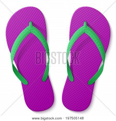 Flip flops isolated on white background. Beach sandals top view. Best vector illustration about footwear recreation travel beach vacation holidays summer shoes