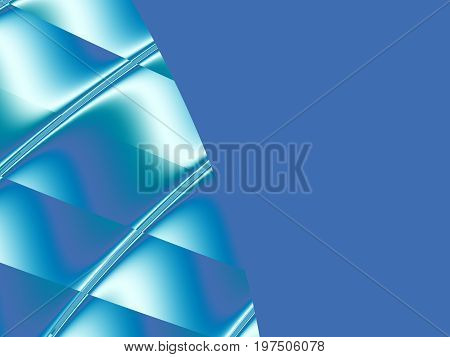 Blue abstract fractal background with a decorative design on the left side. For creative projects, websites, banners, book covers, pamphlets, presentations, advertising, as a template or a layout base.