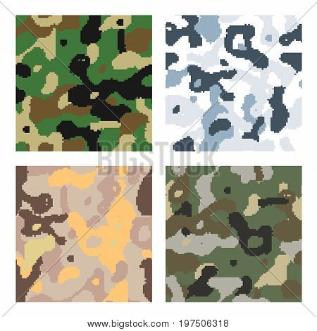 Set of different modern pixelated camouflage seamless patterns to disguise in forest, snow, desert and jungle isolated on white