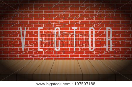 Vector old brick wall with wooden scene. Poster for concert, party, theater, dance template. Wooden Stage with Curtains. Poster Template Vignettes