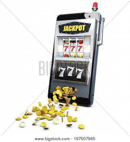 Slot Machine With Lucky Sevens Jackpot. 3D Illustration.