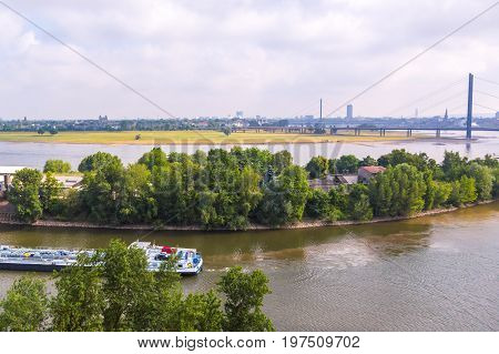 Barge shipping containers on the German Rhein river