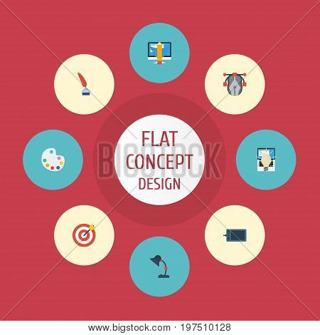 Flat Icons Concept, Arrow, Writing And Other Vector Elements
