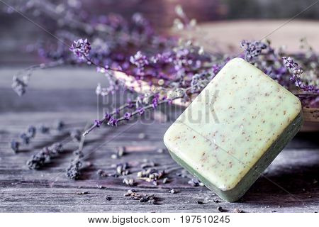 Spa composition with soap on wooden backgroundconcept of Spa therapy and relaxation
