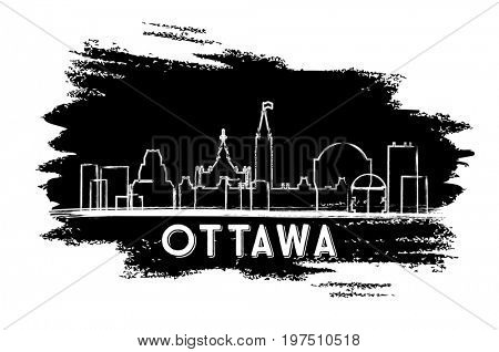 Ottawa Canada Skyline Silhouette. Hand Drawn Sketch. Business Travel and Tourism Concept with Modern Architecture. Image for Presentation Banner Placard and Web Site.