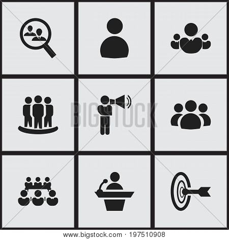 Set Of 9 Editable Business Icons. Includes Symbols Such As Male, Human Resouces, Debate And More