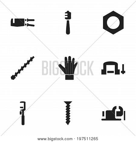 Set Of 9 Editable Equipment Icons. Includes Symbols Such As Honey Stick, Nippers, Bore And More