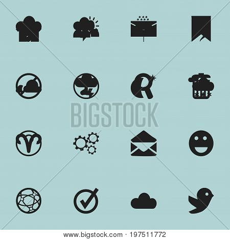 Set Of 16 Editable Web Icons. Includes Symbols Such As Home, Gear, Emoji And More