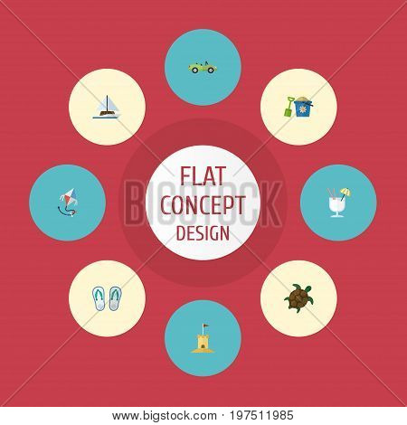 Flat Icons Drink, Car, Tortoise And Other Vector Elements