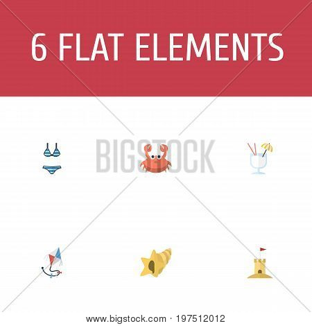 Flat Icons Fly, Beachwear, Drink And Other Vector Elements