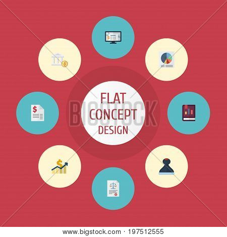 Flat Icons Act, Bank, Accounting System And Other Vector Elements
