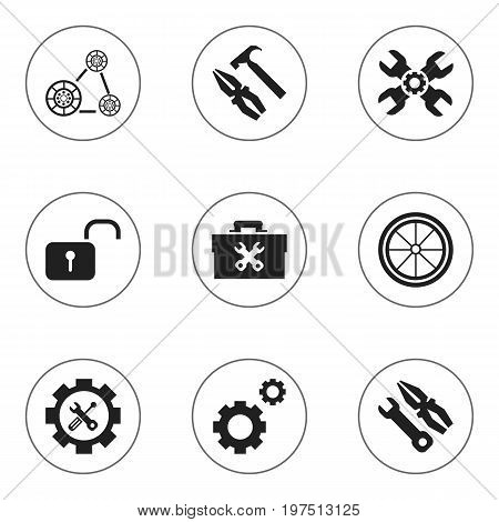 Set Of 9 Editable Toolkit Icons. Includes Symbols Such As Instrument, Fixing Equipment, Screwdriver Wrench And More