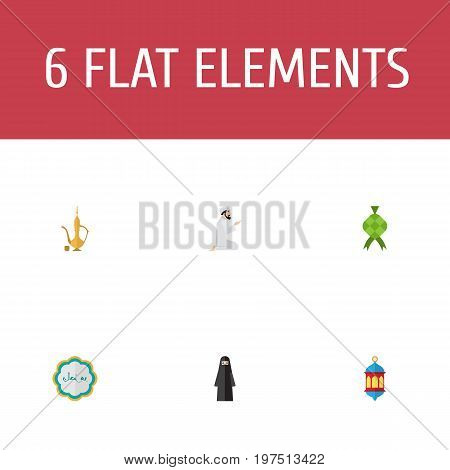 Flat Icons Praying Man, Pitcher, Decorative And Other Vector Elements
