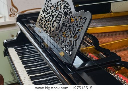 Vintage retro piano the white and black keys