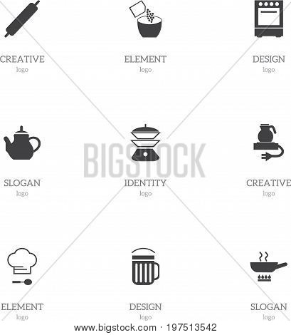 Set Of 9 Editable Restaurant Icons. Includes Symbols Such As Stewpot, Dough, Teapot And More
