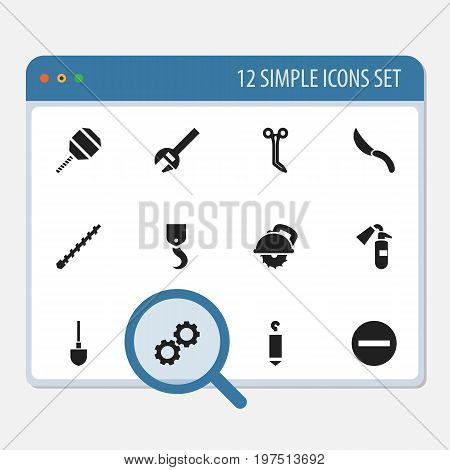 Set Of 12 Editable Tools Icons. Includes Symbols Such As Cogwheel, Jackknife, Spade And More