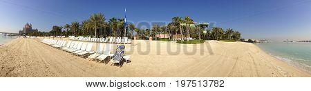 Picturesque panoramic view of the luxurious Atlantis the Palm Beach resort Dubai United Arab Emirates.