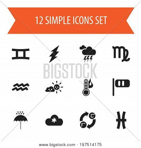 Set Of 12 Editable Weather Icons. Includes Symbols Such As Virgin, Temperature, Breeze Cone And More