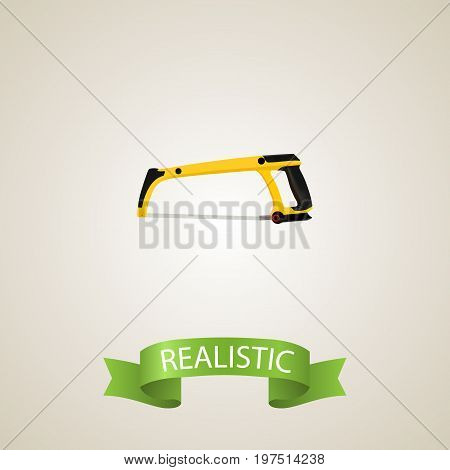 Realistic Hacksaw Element. Vector Illustration Of Realistic Arm-Saw Isolated On Clean Background