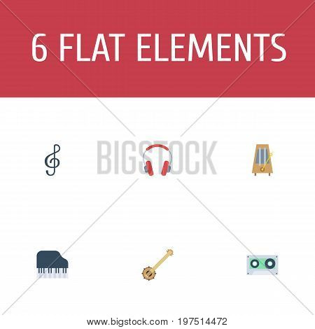 Flat Icons Banjo, Earphone, Octave Keyboard And Other Vector Elements