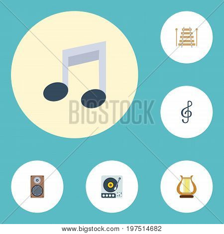 Flat Icons Quaver, Lyre, Audio Box And Other Vector Elements