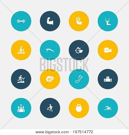 Set Of 16 Editable Sport Icons. Includes Symbols Such As Biceps, Heavy Training, Competition And More