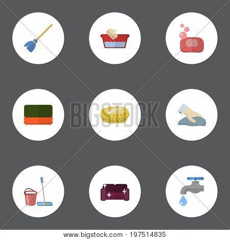 Flat Icons Besom, Mopping, Sponge And Other Vector Elements
