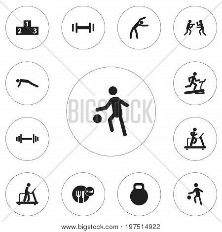 Set Of 12 Editable Exercise Icons. Includes Symbols Such As Executing Running, Sportsman, Platform For Winner And More