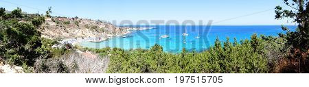 panorama of sandy beach coast in the mediterranean sea landscape on Cyprus island