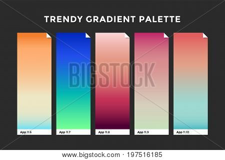 Trendy gradient swatches. Collection palettes of gradient swatches for business infographic, social media, mobile app, flat web design, backgrounds. Set of multicolored gradients. Vector Illustration