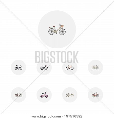 Set Of Bike Realistic Symbols Also Includes Bike, Girl, Childlike Objects.  Realistic Timbered, Brand , Old Vector Elements.