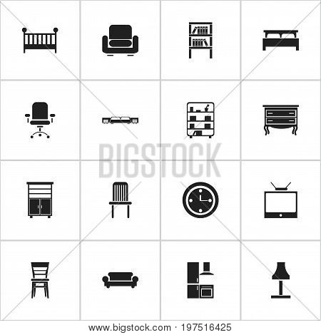 Set Of 16 Editable Interior Icons. Includes Symbols Such As Canape, Ergonomic Seat, Glim And More