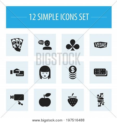 Set Of 12 Editable Excitement Icons. Includes Symbols Such As Thinking Man, Tracking Cam, Shamrock And More