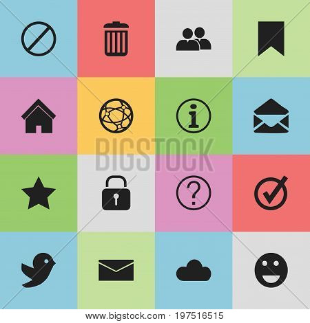 Set Of 16 Editable Web Icons. Includes Symbols Such As Sky, Quiz, Mail And More