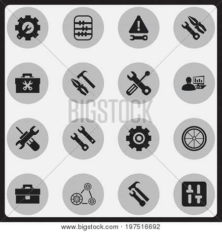 Set Of 16 Editable Mechanic Icons. Includes Symbols Such As Instrument, Arithmetic, Warning And More