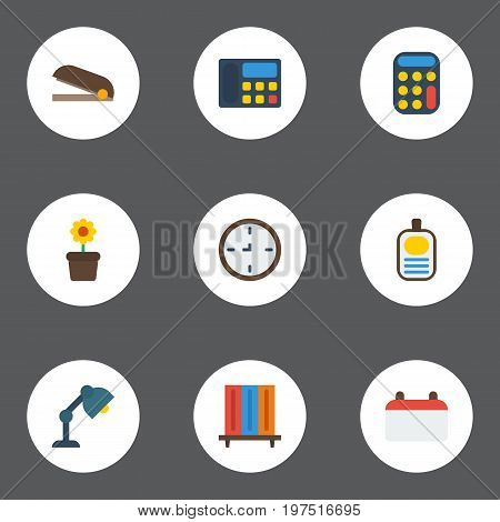 Flat Icons Bookshop, Puncher, Phone And Other Vector Elements