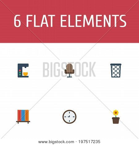 Flat Icons Bookshop, Armchair, Watch And Other Vector Elements