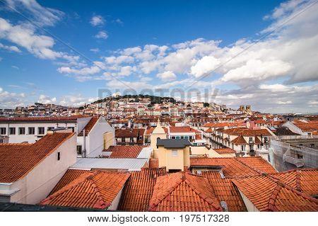 Lisbon, Porgugal Cityscape And Tram Near Lisbon.
